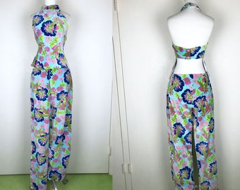 1960s 1970s Faux Lilly Pulitzer Floral Matching Pants Halter Top Set / 60s 70s Retro Blue Green Pink Purple Flower Print Hippie Pants Halter