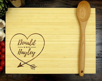 Personalized Cutting Board, Custom Cutting Board, Personalized Wedding Gift, Arrow and Heart, Personalized Engagement Gift, Anniversary Gift