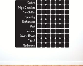 Vinyl Calendar Cleaning Schedule - Chalkboard Vinyl Decal For Kitchen or Home Office
