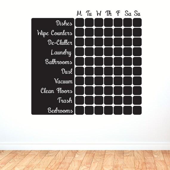Vinyl Chalkboard Cleaning Schedule Calendar by SlapStickVinyl