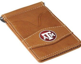 Texas A&M Aggies Tan Leather Wallet Card Holder