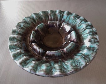 Vintage Drip Glaze Clay Pottery Ashtray Turquoise and Brown