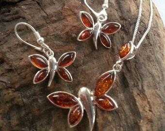 Sterling Silver Baltic Amber Butterfly Pendant Earrings Set