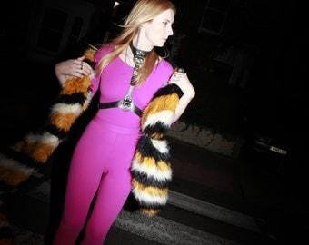 Vtg 80's 'Voulez Vous' Barbie Pink Long Sleeved Body Con Skinny Cat Suit / Jumpsuit Size UK 8/10