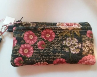 Handmade Floral Design Print Wallet Wristlet Phone Case with strap