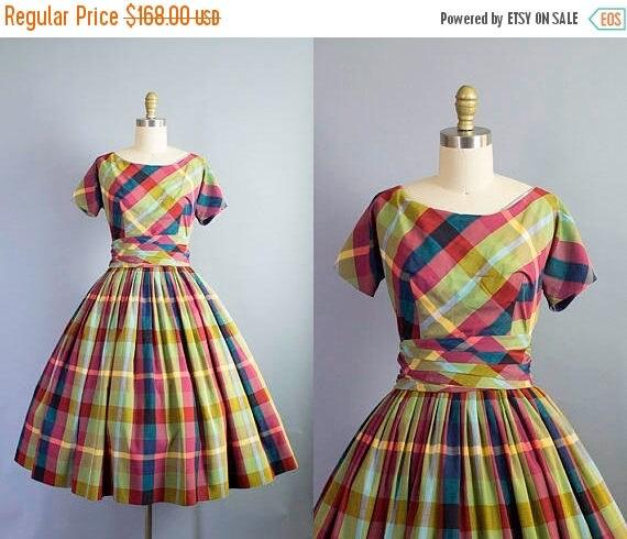 SALE 15% STOREWIDE 1950s plaid dress/ 50s cotton party dress with cummerbund belt/ extra small xs