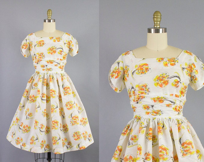 1950s floral cotton dress/ 50s orange flower novelty sundress/ extra small