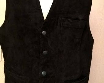 Waistcoat without sleeves black color suede waiter