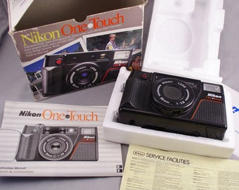 Vintage NIKON One Touch 35mm f2.8 auto-compact Camera in original Box with Instructions - Vintage Camera