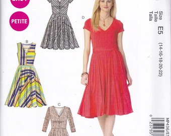 McCalls p436 Vintage Pattern Womens  Dress with Fitted Bodice and  Flared Skirt in 4 Variations Size 14,16,18,20,22 UNCUT