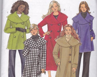 Butterick 4879 Vintage Pattern Womens  Lined Winter Coat in 5 Variations Size 18,20,22,24 UNCUT