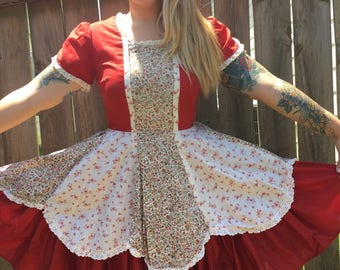 Vintage Hand Sewn Floral & Rust Colored Circle Skirt - Dress
