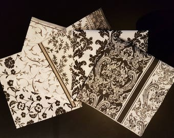 Set of 5 mixed paper decoupage napkins with white and black patterns