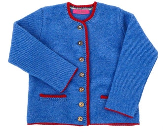 "Children's Cardigan ""The Classical"" - azure blue with red"