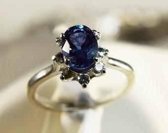 Zandrite Color Change Halo Ring