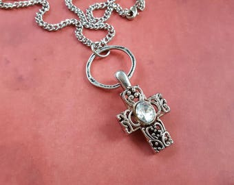 """Antique Silver Filigreed Metal Cross Necklace,Faceted Rhinestone,Distressed Silver Metal Ring on 35"""" Silver Metal Link Chain & Lobster Clasp"""