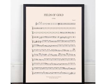 Fields of Gold, Sting, bedroom art, Printable art poster, kitchen art, bar art, INSTANT DOWNLOAD, sheet music, studio art, 90s