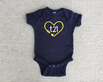 "Down Syndrome Awareness Onesies ~ Baby Girls or Baby Boys, Navy Short-Sleeved Onesie with Yellow and White ""T21"" Logo and Arrow Heart"