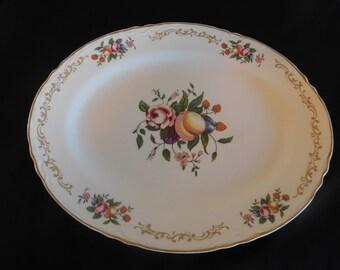 Vintage Homer Laughlin Oval Floral & Fruit Platter, Number B49N8 - Vintage Homer Laughlin, Vintage Platters, Kitchen Serving
