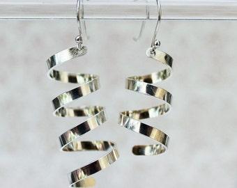 Sterling Silver Asymmetrical Earrings - Drop Earrings - Spiral Earrings - Twirl Earrings – Sterling Silver Earrings - Wedding Earrings