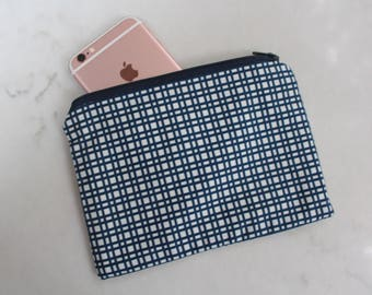 Navy Blue Checkered Zippered Small Zippered Pouch