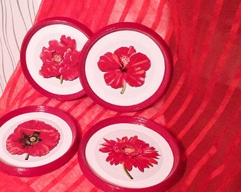 Superieur Red Wall Decor, Red Kitchen Decor, Red Color Plates, Flowers Decor, Red