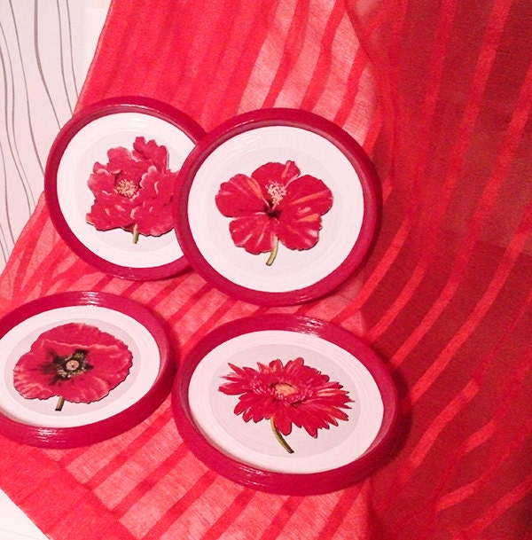 Kitchen Accessories Red: Red Wall Decor Red Kitchen Decor Red Color Plates Flowers