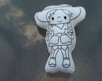 Cowgirl  Coloring Stuffie : Coloring . Plushie .Washable . Reusable . Party Favor .