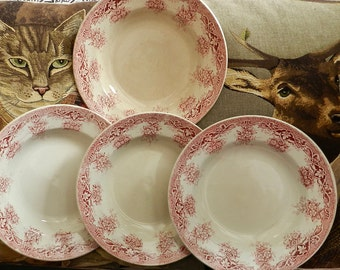 St Amand ensemble de 4 assiettes à soupe fleurs roses modèle Prima
