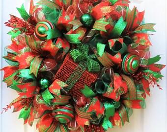 Christmas Wreath, Red Emerald Christmas Wreath, Deco Mesh Christmas, Christmas Mesh Wreath, Front Door Wreath for Christmas, Holiday Decor