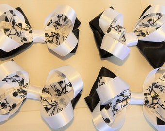set of 4 black and white stacked hair bows on clips bulk lots