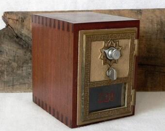 Handmade Solid Ipe Hardwood Bank with Vintage Post Office Door