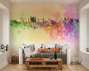Photo Wallpaper Wall Murals London Skyline In Watercolour UK Decals Decor Living Room Home