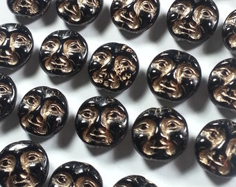 28 Pcs Czech Glass 9mm Moon Face Beads....Black Highlighted in Gold
