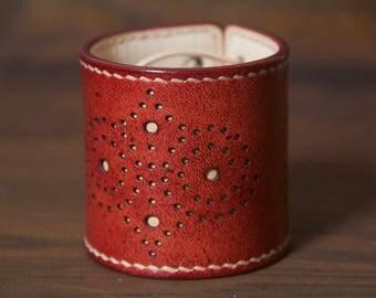 Brogue Bracelet, Chestnut Red