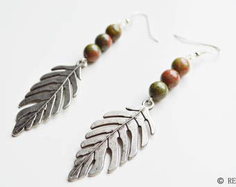Unakite leaf pendant earrings