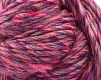 "100% Merino Wool Heavy Bulky Weight Single-Ply Yarn/Pencil Roving ""Razzleberry"""