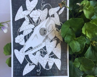 Muntjac Skull and Morning Glory Sticker