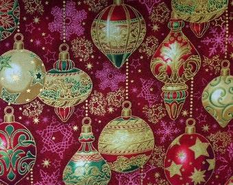 Robert Kaufman HF9/Ornaments (Crimson) - 100% Cotton Premium Quality Fabric - Per 1/2 Yard
