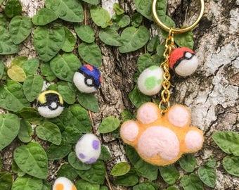 Handmade Pokémon GO Themed Needle Felted Cat Paw Keychain / Charm