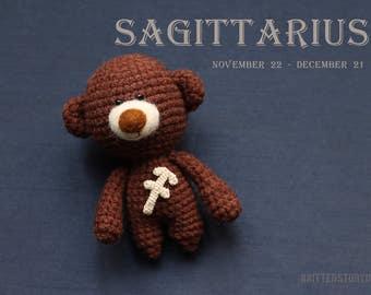 Sagittarius zodiac teddy bear - crochet zodiac toy, zodiac birthday present, birthday Sagittarius gift, Sagittarius star sign -MADE TO ORDER