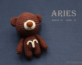 Aries zodiac teddy bear - crochet zodiac toy, Aries birthday present, horoscope Aries gift, Aries star sign - MADE TO ORDER