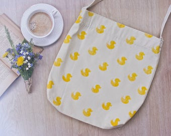 Eco Friendly Grocery bag, 100% handmade, yellow duck pattern