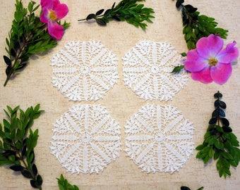 Crochet Doily Coasters - Drink Coasters - White Crochet Coasters - Doily Drink Coasters - Beaded Doily Coaster Set - Crochet Coaster Set