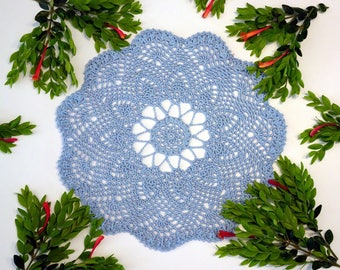Small Blue Crochet Doily - Blue Decorative Doily - Blue Crochet Doily - Blue Pineapple Doily - Blue Crochet Lace - Blue Doily Centerpiece