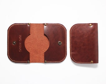 Cognac brown leather card holder