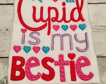 Cupid is my bestie - Valentine Shirts For Girls - Valentines Day Shirt For Girls - Girl Valentine's Day shirt - Cupid Shirt - Vday shirt
