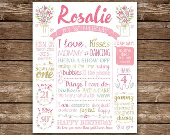 1st Birthday Poster Sign, First Birthday Sign for girl, Spring Flowers, Mason Jars, First Birthday, Floral, Pink Gold, Birthday Chalkboard
