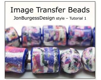 Image Transfer Bead Tutorial, Polymer Clay Tutorial, Rustic bead Tutorial, Polymer tube beads, Polymer Clay Image Transfer tutorial