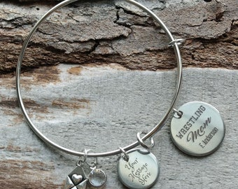 Miracles Take Time Personalized Adjustable Wire Bangle Bracelet